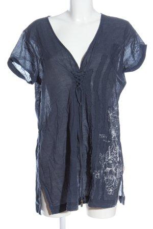 Soccx Kurzarm-Bluse blau Blumenmuster Casual-Look