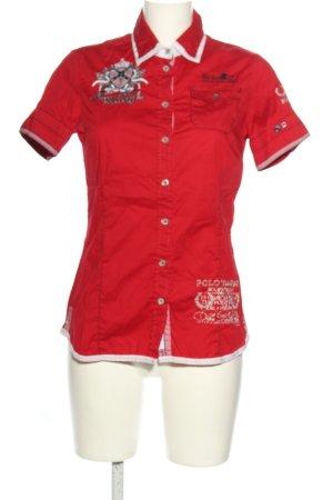 Soccx Camisa de manga corta rojo-blanco letras impresas look casual