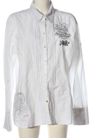 Soccx Koszula z długim rękawem biały Wyhaftowany logo W stylu casual