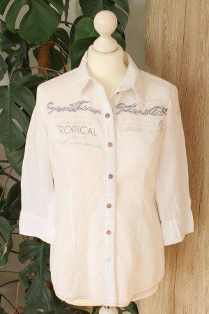 Soccx Leinen-Bluse 3/4-Arm Weiß Cremeweiß Hemdbluse S