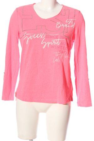 Soccx Longsleeve pink-weiß Schriftzug gedruckt Casual-Look