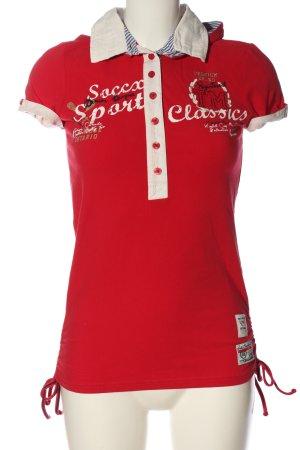 Soccx Longsleeve rot-wollweiß Schriftzug gedruckt Casual-Look