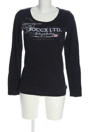 Soccx Longsleeve schwarz-weiß Schriftzug gedruckt Casual-Look