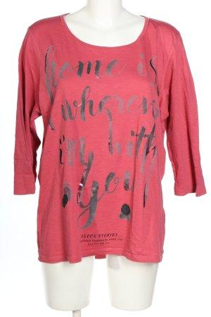 Soccx Longsleeve pink-silberfarben Schriftzug gedruckt Casual-Look