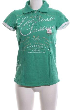 Soccx Camiseta tipo polo verde-blanco letras impresas look casual