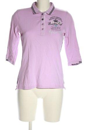 Soccx Polo-Shirt pink-schwarz Schriftzug gedruckt Casual-Look