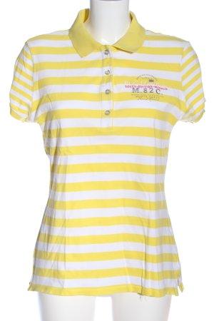 Soccx Polo-Shirt blassgelb-weiß Schriftzug gedruckt Casual-Look