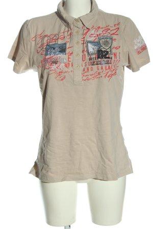 Soccx Polo-Shirt wollweiß-rot Motivdruck Casual-Look