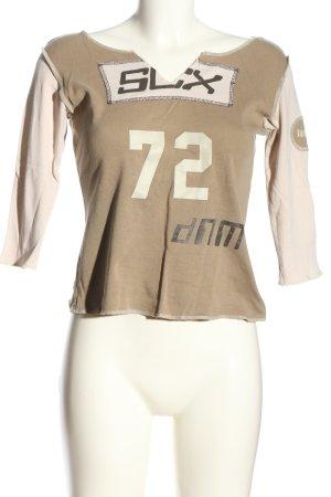 Soccx Print-Shirt creme-braun Schriftzug gedruckt sportlicher Stil