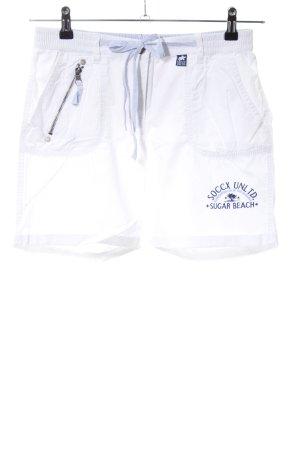 Soccx Sportshorts weiß-blau Schriftzug gedruckt Casual-Look