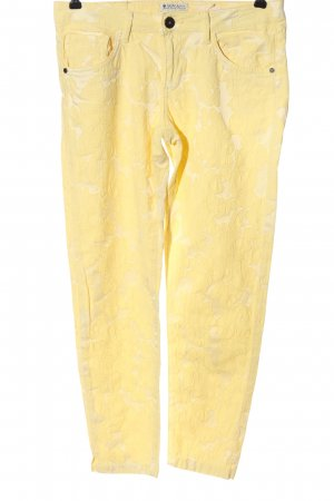 Soccx Pantalone jersey giallo pallido-crema motivo floreale stile casual