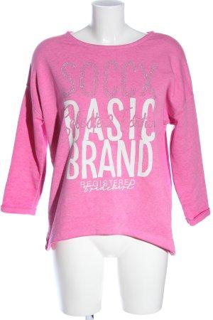 Soccx Sweatshirt pink Schriftzug gedruckt Casual-Look