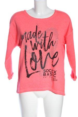 Soccx Sweatshirt pink-schwarz Schriftzug gedruckt Casual-Look