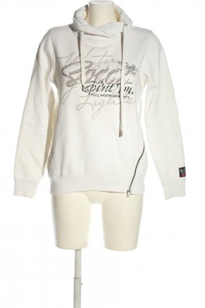 Soccx Sweatshirt weiß-schwarz Schriftzug gedruckt Casual-Look