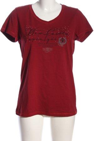 Soccx T-Shirt rot-schwarz Schriftzug gedruckt Casual-Look