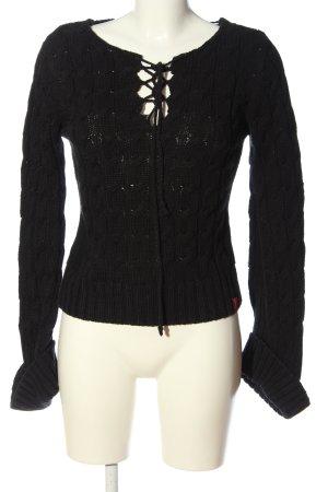 Soccx Warkoczowy sweter czarny W stylu casual