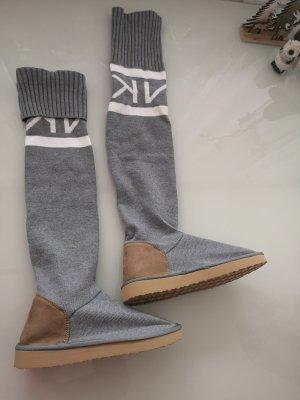 Stretch Boots grey-silver-colored mixture fibre