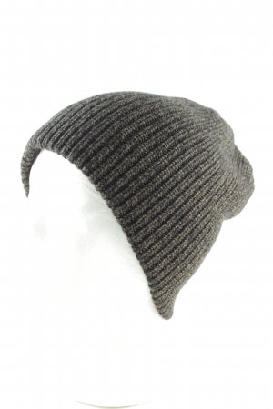 Knitted Hat light grey-black cable stitch