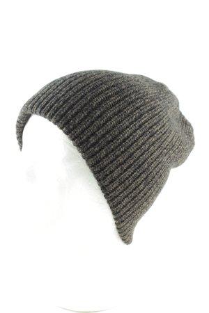 Chapeau en tricot gris clair-noir torsades