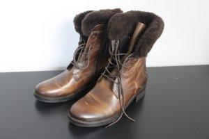 Soer-SÖR Damen Stiefeletten Military Leder mit echtem Fell Pelz Schuhe 39 neu NP 299€
