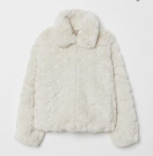Hennes Collection by H&M Giacca in pelliccia bianco sporco