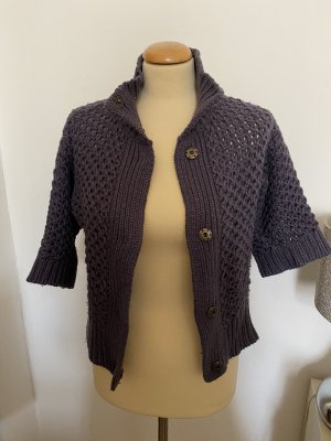 Soft Grey Short Sleeve Knitted Jacket multicolored