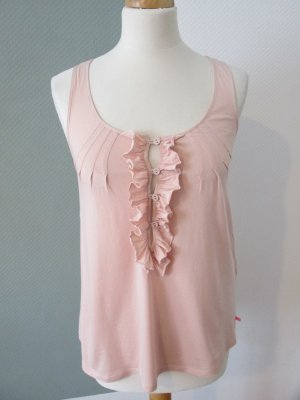 Soft Grey Top a balze rosa pallido