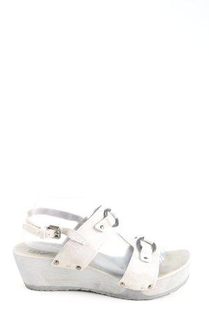Softclox Klompsandalen wit-zilver casual uitstraling