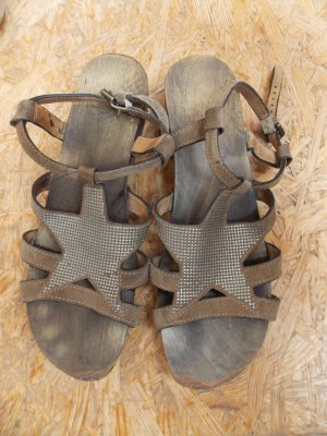 Softclox Clog Sandals camel leather