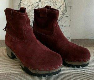 Softclox Platform Booties bordeaux leather