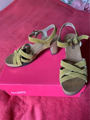 Softclox Clog Sandals lime yellow leather