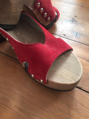 Softclox Clog Sandals red leather