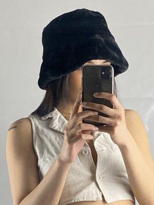 Vintage Futrzana czapka czarny