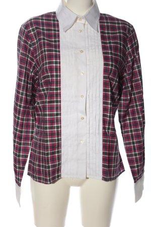 Soluzione Langarm-Bluse pink-weiß Karomuster Business-Look