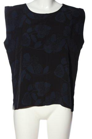 someday ärmellose Bluse schwarz-blau abstraktes Muster Casual-Look