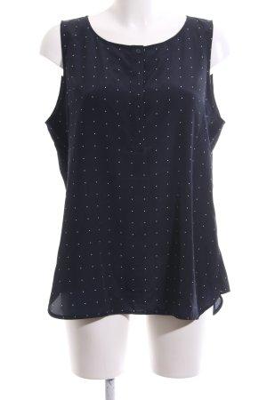 someday ärmellose Bluse blau-weiß Punktemuster Casual-Look