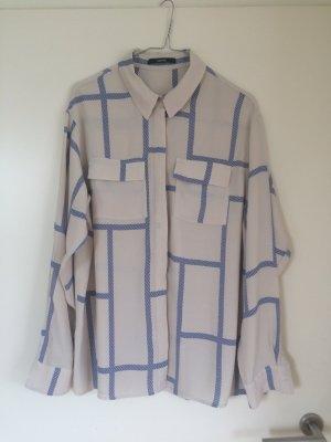 Someday Bluse beige mit Enzianblau Gr. 40
