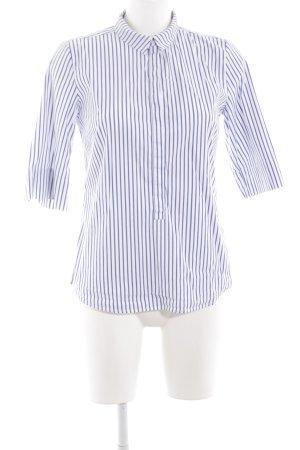 someday Hemd-Bluse weiß-stahlblau Streifenmuster Logo-Applikation