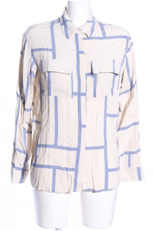 someday Langarm-Bluse wollweiß-blau grafisches Muster Business-Look