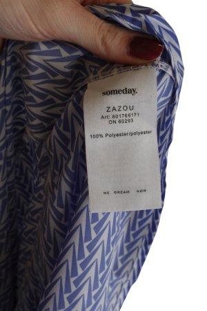 someday Schlupf-Bluse blau-weiß Allover-Druck Casual-Look