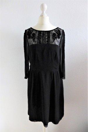Somerset by Alice Termperley Abend Kleid Seide Spitze schwarz UK10 dt 36 S Flapper NEU