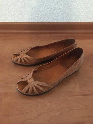 Shoe Biz Copenhagen Baleriny z odsłoniętym palcem brązowy-cognac Skóra