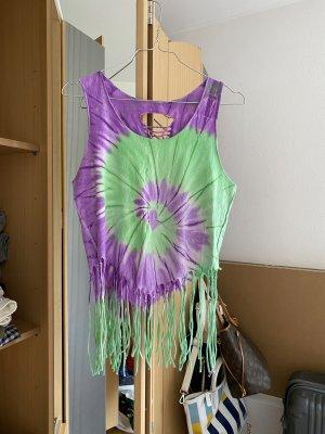 Batik shirt lila-neon groen