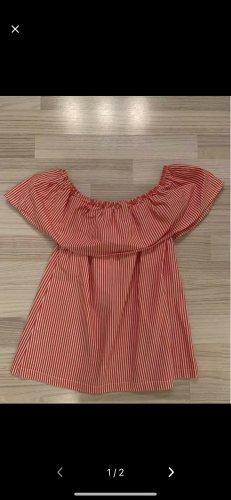 H&M Bluzka typu carmen biały-czerwony