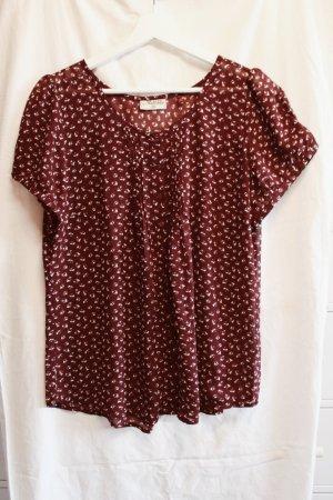 Sommer-Bluse von Jeans Fritz, dunkelrot mit zarten Blumenmuster