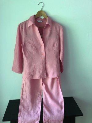 Sommer-Blusen-/Hosenkombi - feines Leinen pink