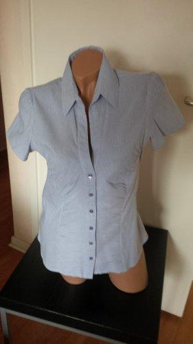 Sommer Business-Bluse, grau-weiß gestreift, Kurzarm, Gr. 40