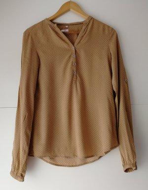 Sommer Damen Bluse mit V-Ausschnitt beige von Milano Italy (Gr. 34)