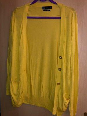 Sommer gelbe Strickjacke Feinstrick, schimmernden Knöpfen