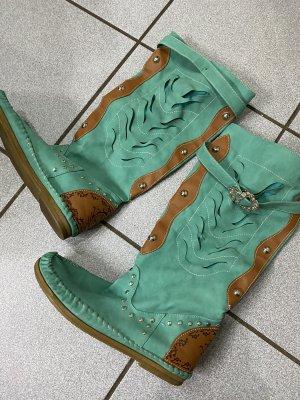 Ocieplane buty zielony-cognac